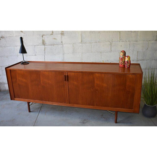 Ib Kofod-Larsen Mid Century Modern Tambour Door Teak Credenza For Sale In New York - Image 6 of 11