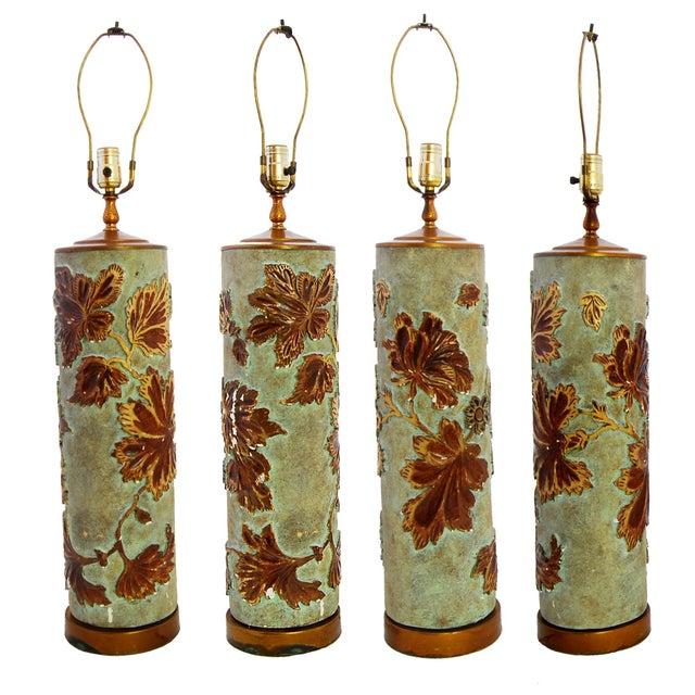 Large Vintage Wallpaper Roller Lamp - Image 3 of 3