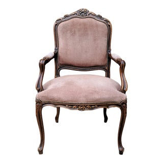 1989 Vintage Chateau D'ax French Provincial Style Carved Walnut Fauteuil For Sale