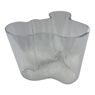 Alvar Aalto Biomorphic Savoy Clear Vase For Sale