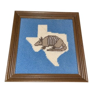 Wooden Framed Handcrafted Texas State Needlepoint With Armadillo For Sale