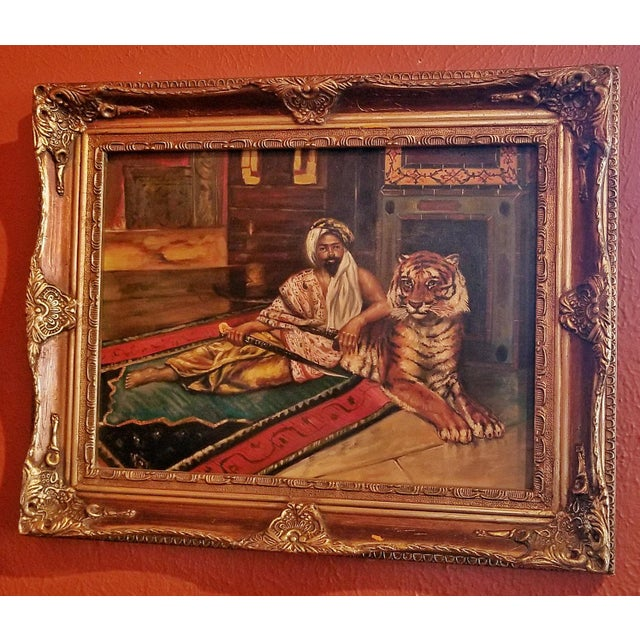 British Colonial 19c Oil on Canvas of Raj or Prince with Tiger For Sale - Image 3 of 9