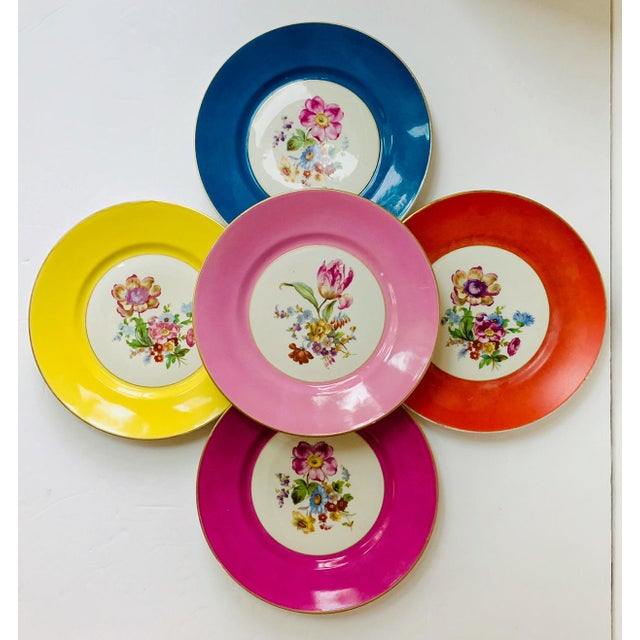 Vintage Richard Ginori Italy, Multicolored Porcelain Salad / Dessert Plates, Flower Patterns , Set of 5 For Sale - Image 13 of 13