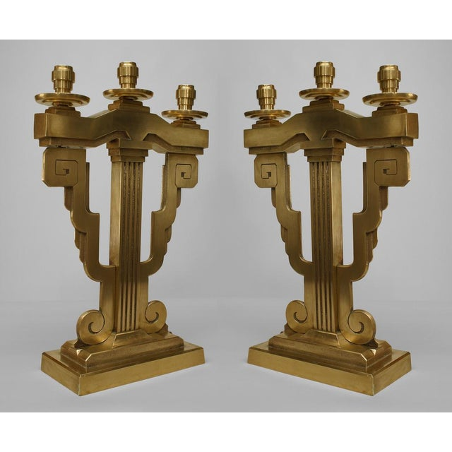 Pair Of American Art Deco Bronze 3 Arm Candelabra For Sale - Image 4 of 4