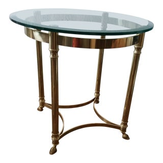 LaBarge Hollywood Regency Solid Brass & Glass Side Table