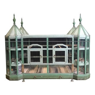 19th Century French Celedon Chateau Bird Cage For Sale