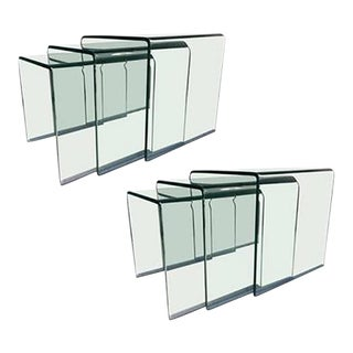 Wonderful Pair of Curved Glass Waterfall Nesting Tables by Angelo Cortesi For Sale