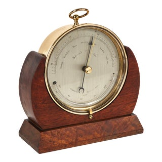 Brass Barometer Resting in a Wood Base from 19th Century England For Sale