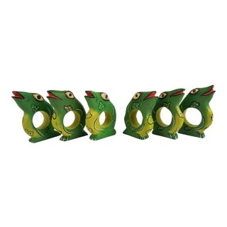 Painted Frog Napkin Rings, S/6 For Sale