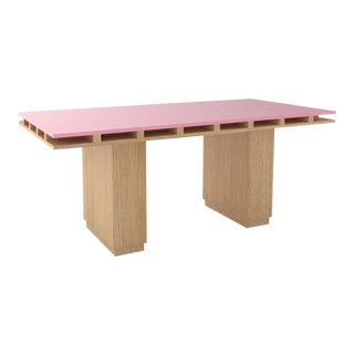 Contemporary 103 Dining Table in Oak and Pink by Orphan Work, 2020 For Sale