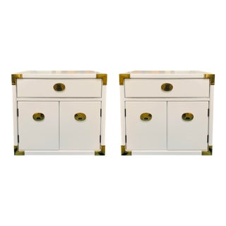 Campaign Nightstands Lacquered in White For Sale