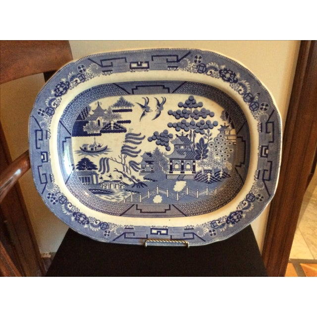 English Staffordshire Blue Willow Country Platter - Image 2 of 4