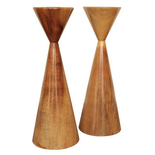 Danish Myrtle Wood Candle Holders - A Pair