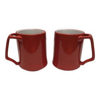 Vintage Dansk Chili Red Coffee Mugs - a Pair For Sale