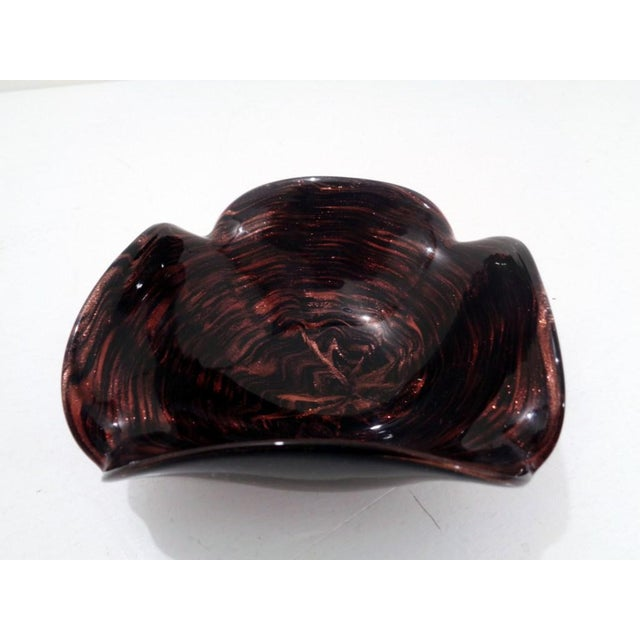 Mid Century Venetian Murano Italy Swirl Dark Amethyst Art Glass Dish For Sale In Nashville - Image 6 of 11