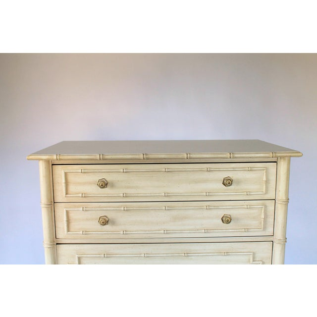 Mid 20th Century Thomasville Faux Bamboo Chest of Drawers For Sale - Image 5 of 11