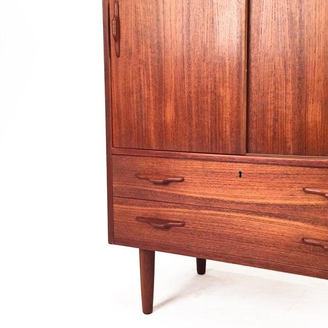 1960s Vintage Teak Cabinet With Sliding Doors For Sale - Image 5 of 6