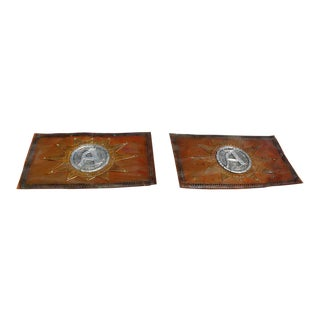 Antique French Hand Hammered Copper Signs - a Pair For Sale