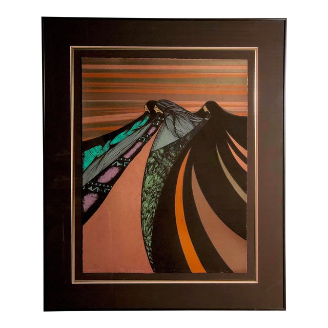 """""""Tres Hermanas"""" Framed Chromolithograph by Amado Maurillo Pena For Sale"""