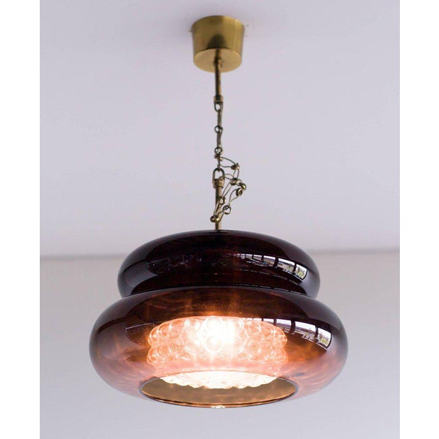 Brass Carl Fagerlund Glass 'Bubblan' Pendant for Orrefors, Sweden For Sale - Image 7 of 7