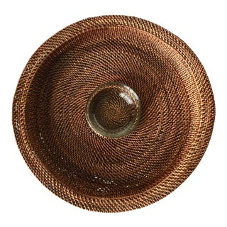 Artifacts Rattan Woven Chip & Dips Serving Tray For Sale