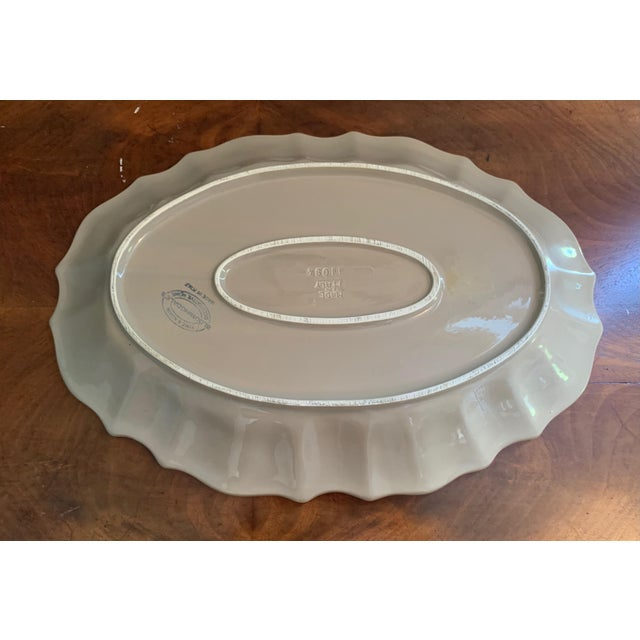 2010s Bloomingdales Taupe Scalloped Edge Ceramic Platter For Sale - Image 5 of 8