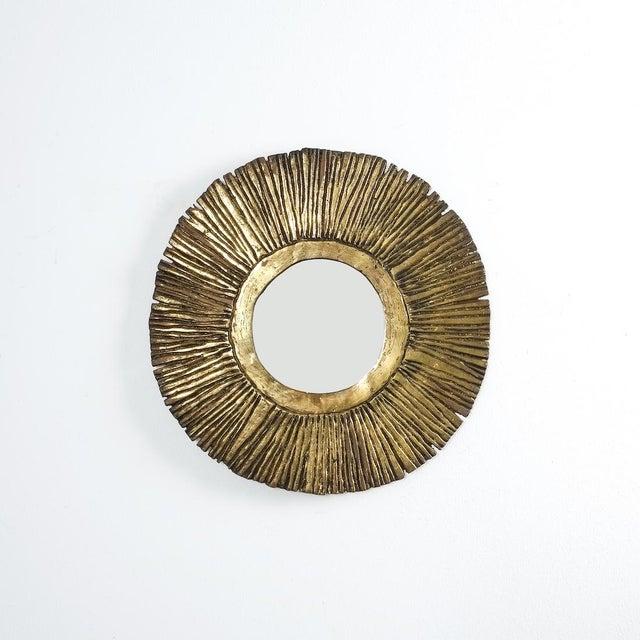 Metal Solid Brass Sunburst Midcentury Mirror, France, Circa 1955 For Sale - Image 7 of 7