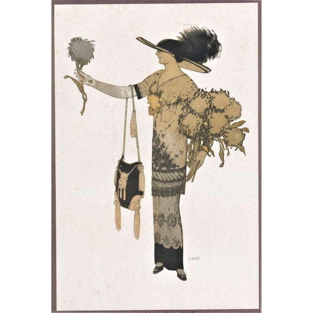 This is an original fashion lithograph from 1911 by the well-known Catalan artist Xavier Gosé. Gosé was a Moderne, Art...