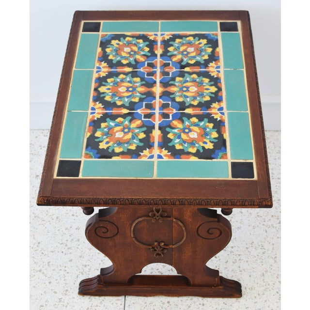 Blue 1940s California Mission Tile Oak Accent Coffee Table For Sale - Image 8 of 13