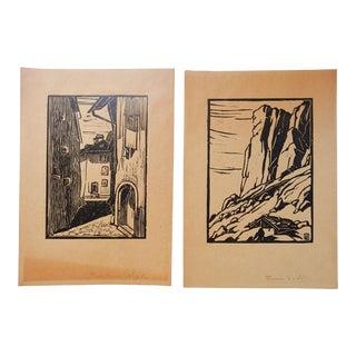 Francois Birbaum Block Prints - a Pair For Sale