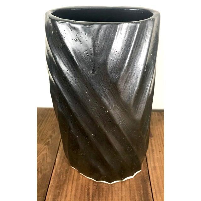Late 20th Century Vintage Black Glazed Hand Carved Ceramic Vessel For Sale - Image 5 of 10