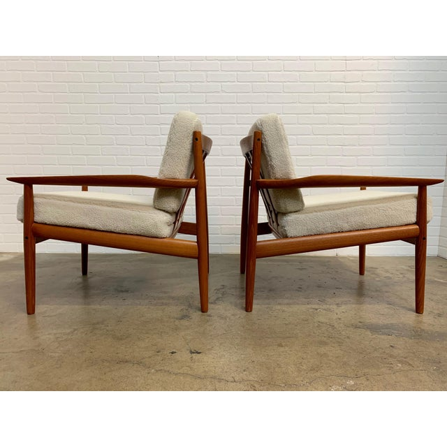 Mid-Century Modern Arne Vodder Teddy Faux Fur Danish Modern Lounge Chairs - a Pair For Sale - Image 3 of 11