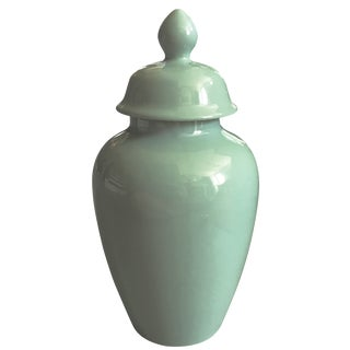 Vintage Sea Green Ginger Jar For Sale