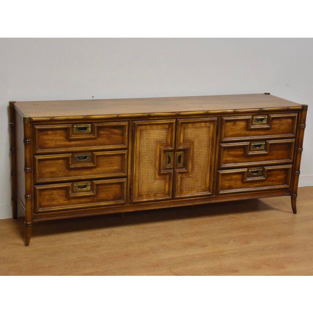 Stanley Faux Bamboo Hollywood Regency Dresser - Image 11 of 11