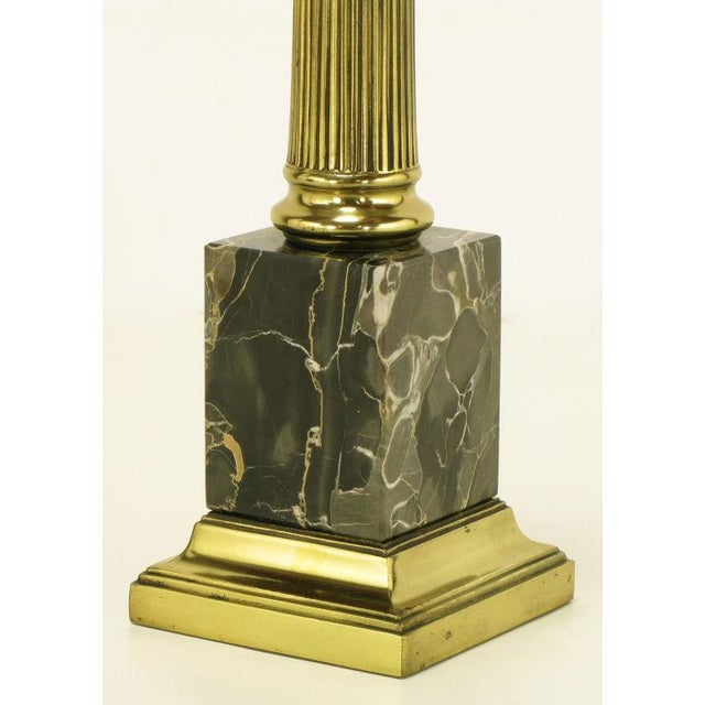 Gold Pair Brass & Black Portoro Marble Ionic Column Table Lamps For Sale - Image 8 of 8