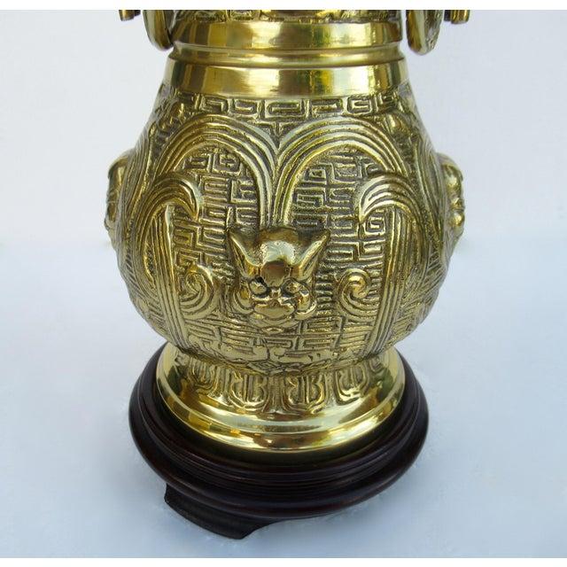 C1950s-70s Hollywood Regency Era, James Mont-Style Asian Antique Bronze Lamp For Sale - Image 10 of 13