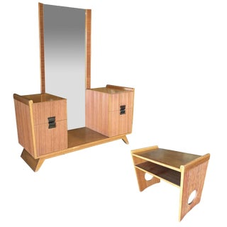 Paul Frankl Combed Wood Vanity With Stool for Brown Saltman For Sale