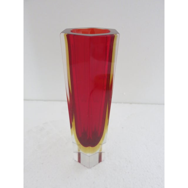 Italian vase with red Murano Glass made in Sommerso (submerged) technique with clear Murano glass base by Mandruzzato /...