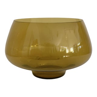 Mid Century Amber Glass Centerpiece Large Salad Bowl For Sale