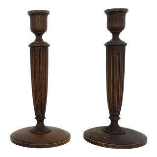 Hand Turned American Walnut Candlesticks - a Pair For Sale