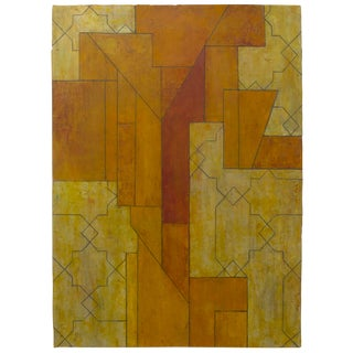 Stephen Cimini Ancient/Modern Series Abstract Geometric Oil on Paper Painting For Sale