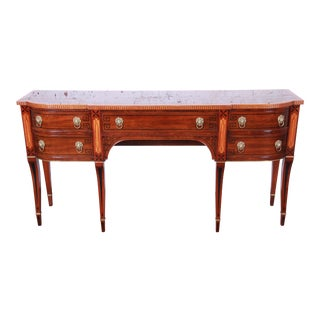 John Widdicomb Banded Inlaid Mahogany and Satinwood Federal Style Sideboard Buffet For Sale