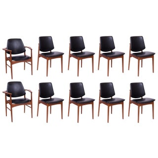 Ten Arne Hovmand Olsen Teak and Brass Dining Chairs For Sale