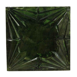 Antique Art Deco Dark Green Tin Ceiling Panel For Sale