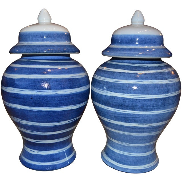 Indigo & White Striped Ginger Jars - A Pair For Sale