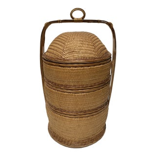 Asian Natural Woven Wicker Food and Picnic Carrier For Sale