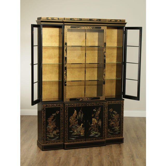 Wood Drexel Heritage Et Cetera Black & Gold Asian Chinoiserie Breakfront For Sale - Image 7 of 13