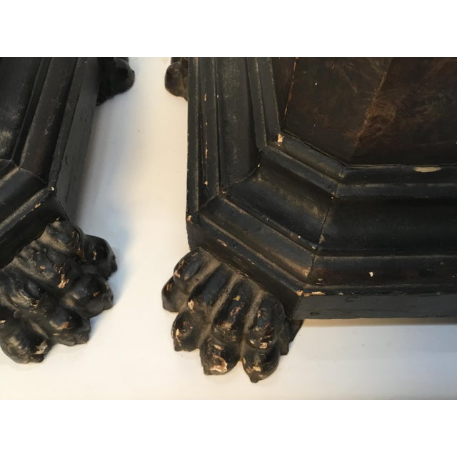 Wood 18th Century Italian Marbleized and Carved Pedestals- a Pair For Sale - Image 7 of 13