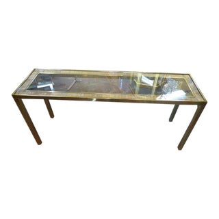 Vintage Mid Century Modern Brass Console Table For Sale