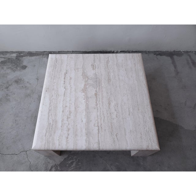 1980s Vintage Square Italian Travertine Coffee Table For Sale - Image 5 of 7